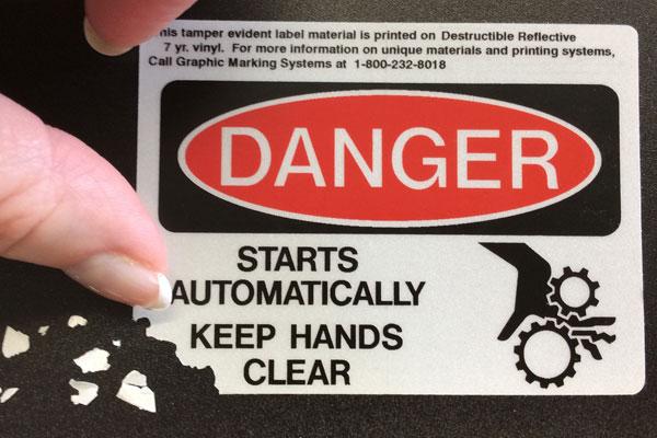 destructible reflective label material